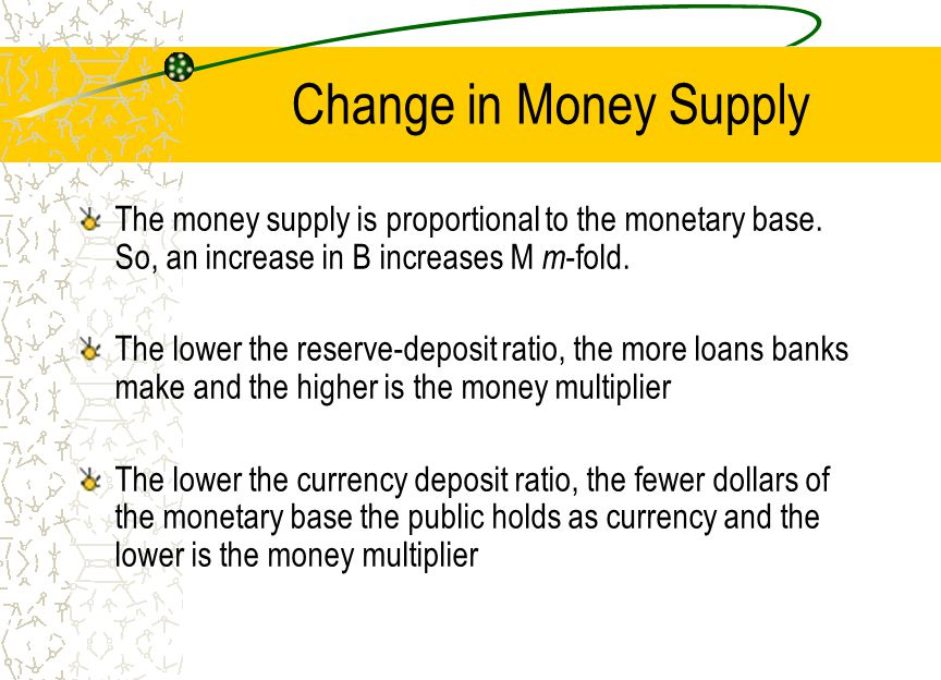 Change in Money Supply The money supply is proportional to the monetary base. So, an increase in B increases M m -fold. The lower the reserve-deposit