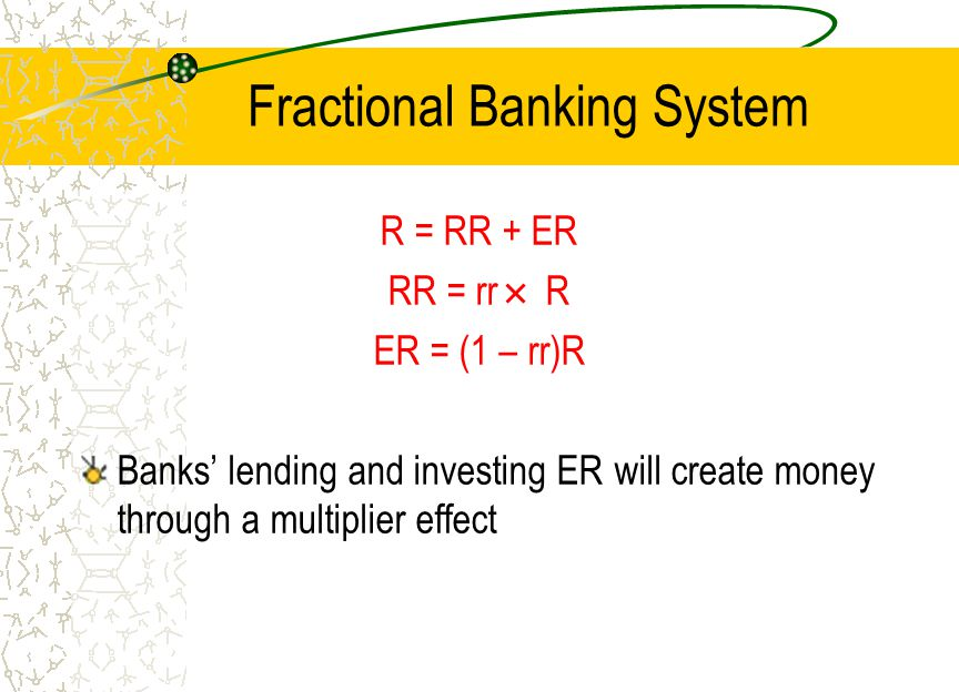 Fractional Banking System R = RR + ER RR = rr R ER = (1 – rr)R Banks lending and investing ER will create money through a multiplier effect