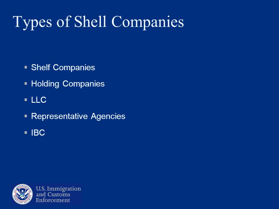 Types of Shell Companies Shelf Companies Holding Companies LLC Representative Agencies IBC