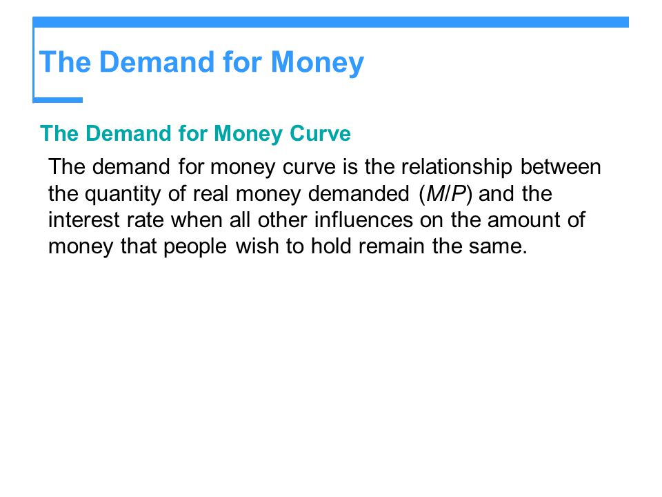 The Demand for Money The Demand for Money Curve The demand for money curve is the relationship between the quantity of real money demanded (M/P) and t