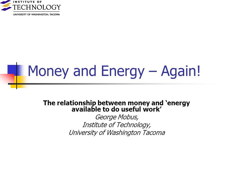 Money and Energy – Again.