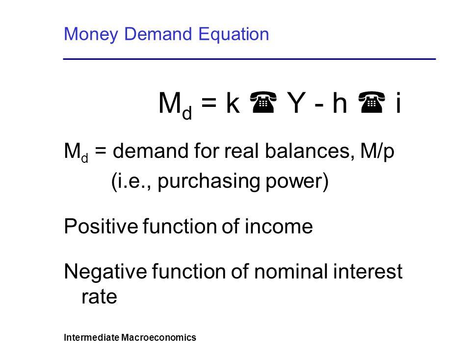 Intermediate Macroeconomics Money Demand Benefits and Costs of Holding Money Transactions Motive Precautionary Motive Speculative Motive Empirical results