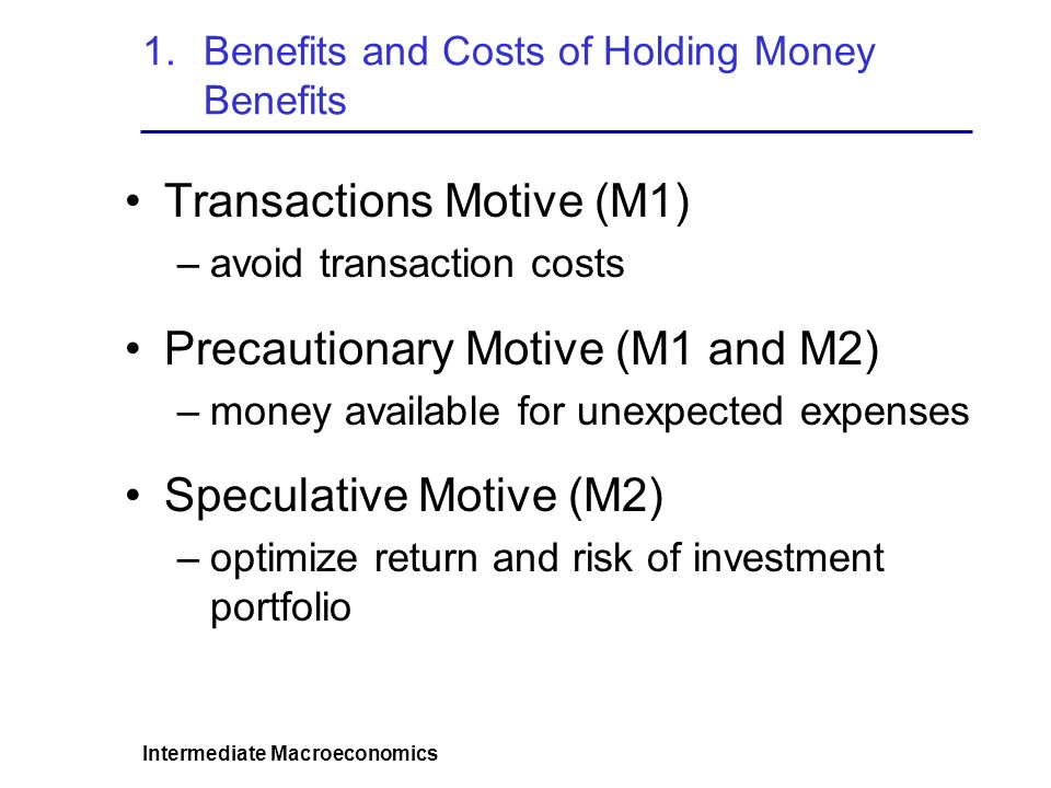Intermediate Macroeconomics 1.Benefits and Costs of Holding Money Costs Opportunity cost of holding money: Interest or profits that could be earned from better paying but illiquid or riskier non-money investments.