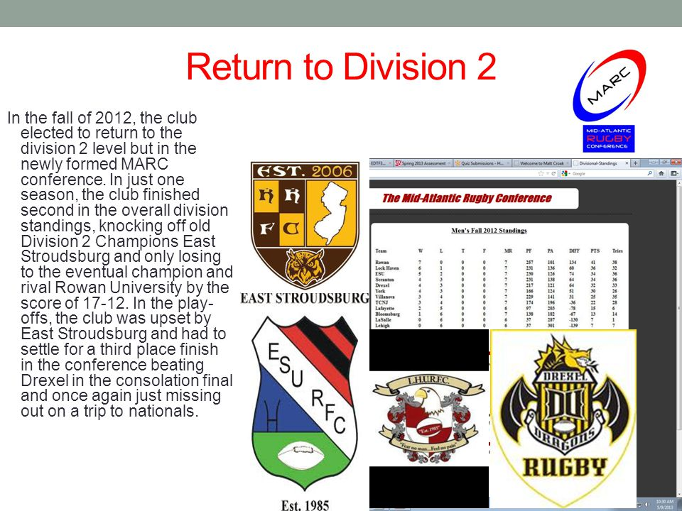 Return to Division 2 In the fall of 2012, the club elected to return to the division 2 level but in the newly formed MARC conference.