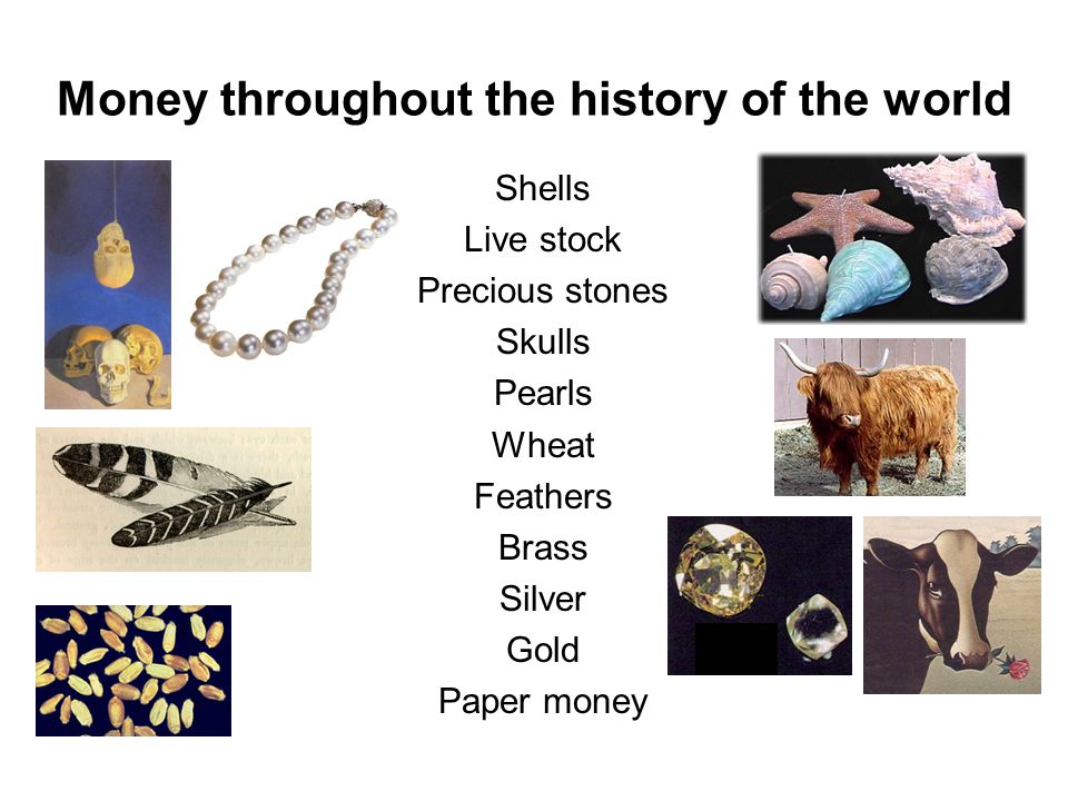 Money throughout the history of the world Shells Live stock Precious stones Skulls Pearls Wheat Feathers Brass Silver Gold Paper money