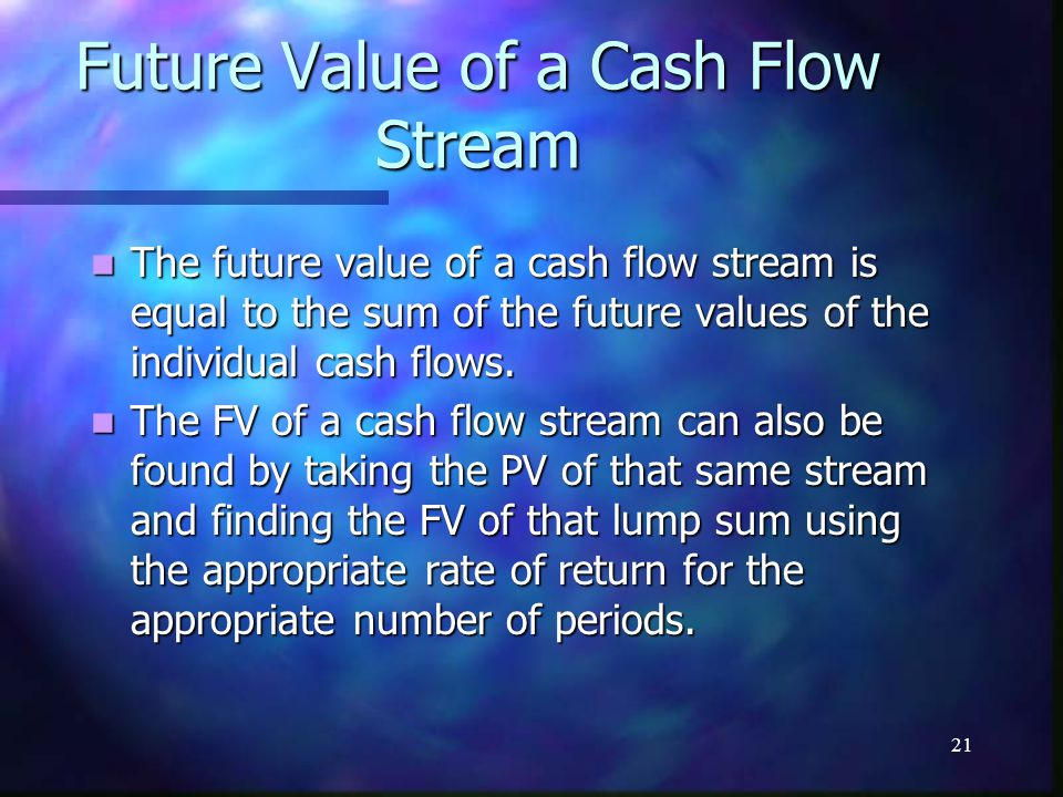 21 Future Value of a Cash Flow Stream The future value of a cash flow stream is equal to the sum of the future values of the individual cash flows.