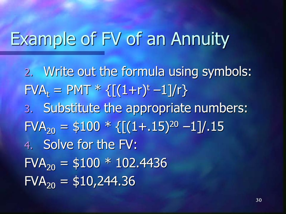 30 Example of FV of an Annuity 2.