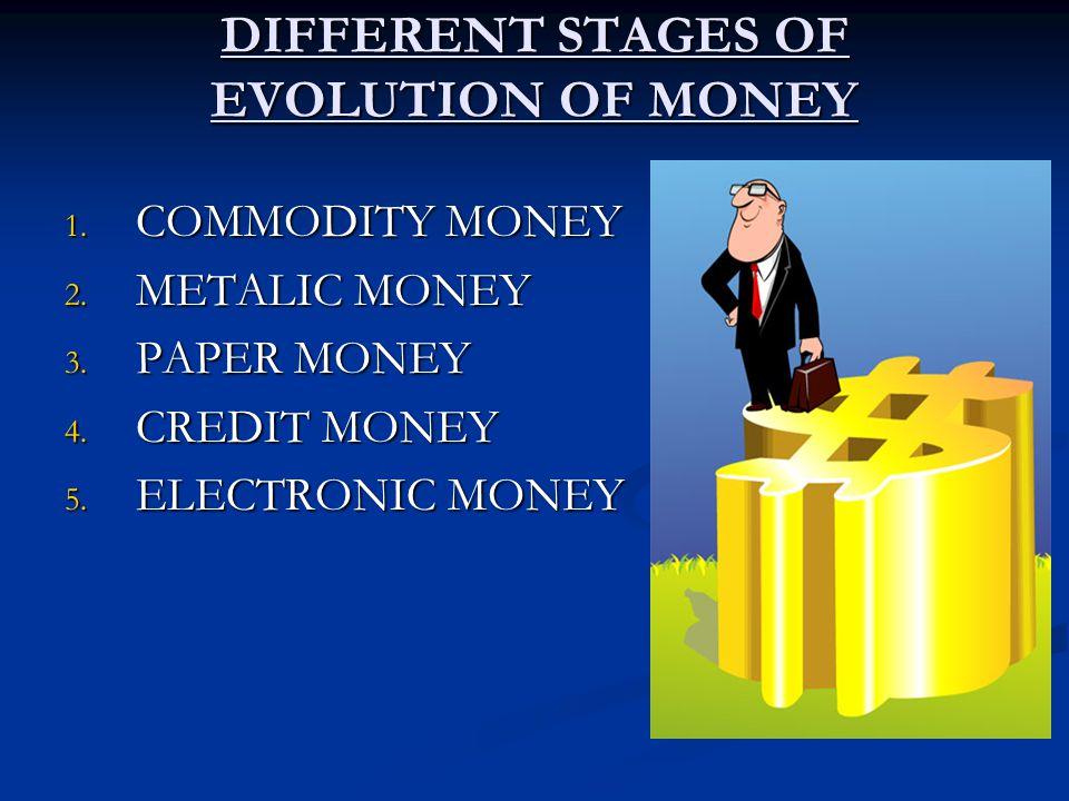 DIFFERENT STAGES OF EVOLUTION OF MONEY 1. COMMODITY MONEY 2. METALIC MONEY 3. PAPER MONEY 4. CREDIT MONEY 5. ELECTRONIC MONEY
