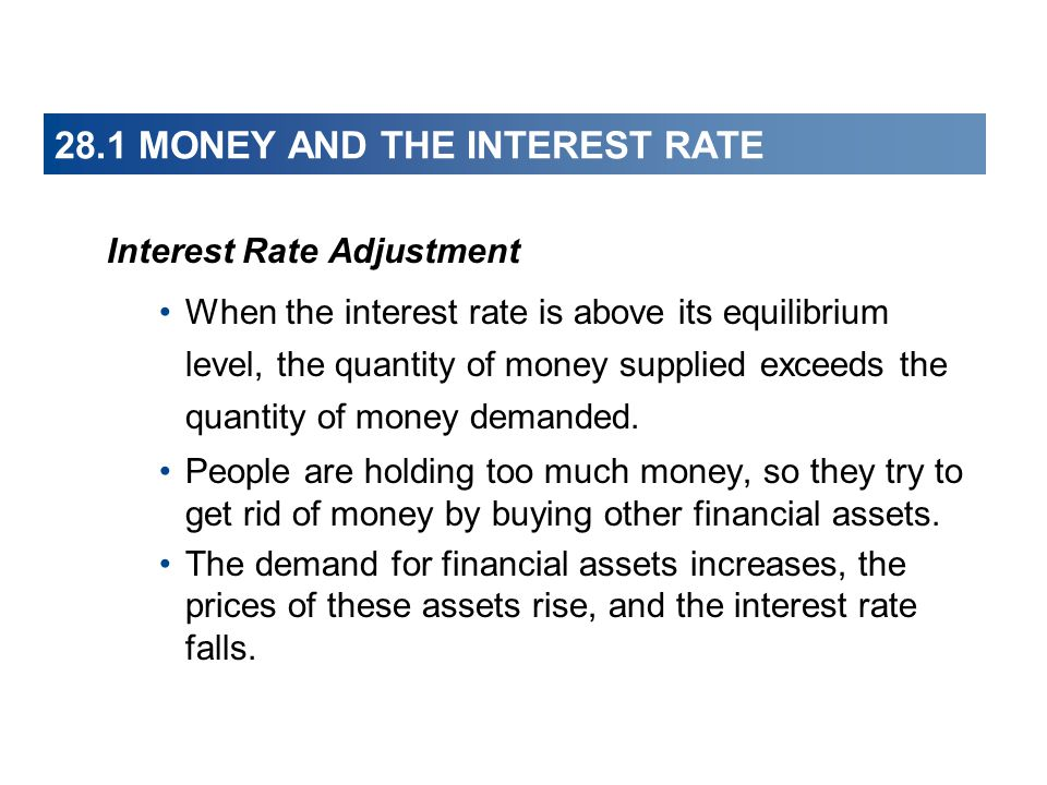 28.1 MONEY AND THE INTEREST RATE Interest Rate Adjustment When the interest rate is above its equilibrium level, the quantity of money supplied exceed