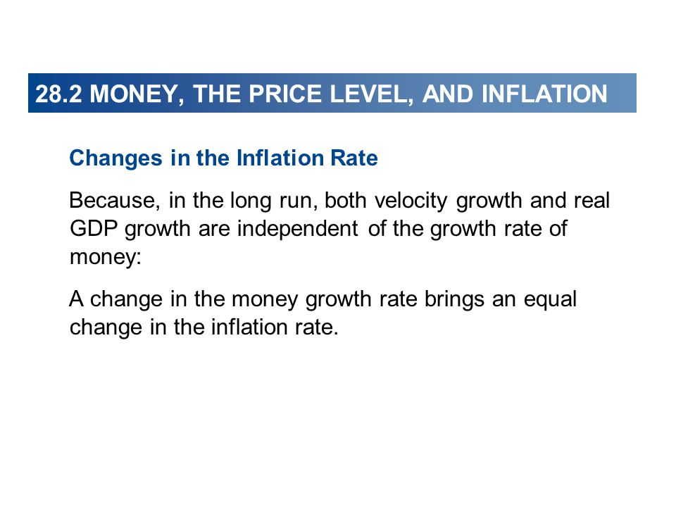 28.2 MONEY, THE PRICE LEVEL, AND INFLATION Changes in the Inflation Rate Because, in the long run, both velocity growth and real GDP growth are indepe
