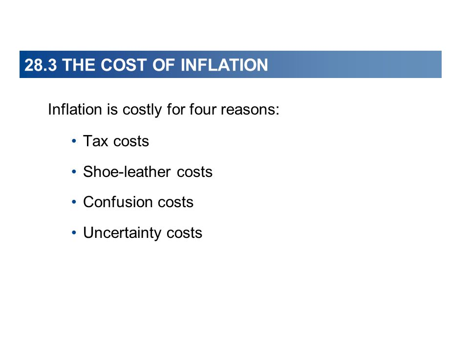 28.3 THE COST OF INFLATION Inflation is costly for four reasons: Tax costs Shoe-leather costs Confusion costs Uncertainty costs
