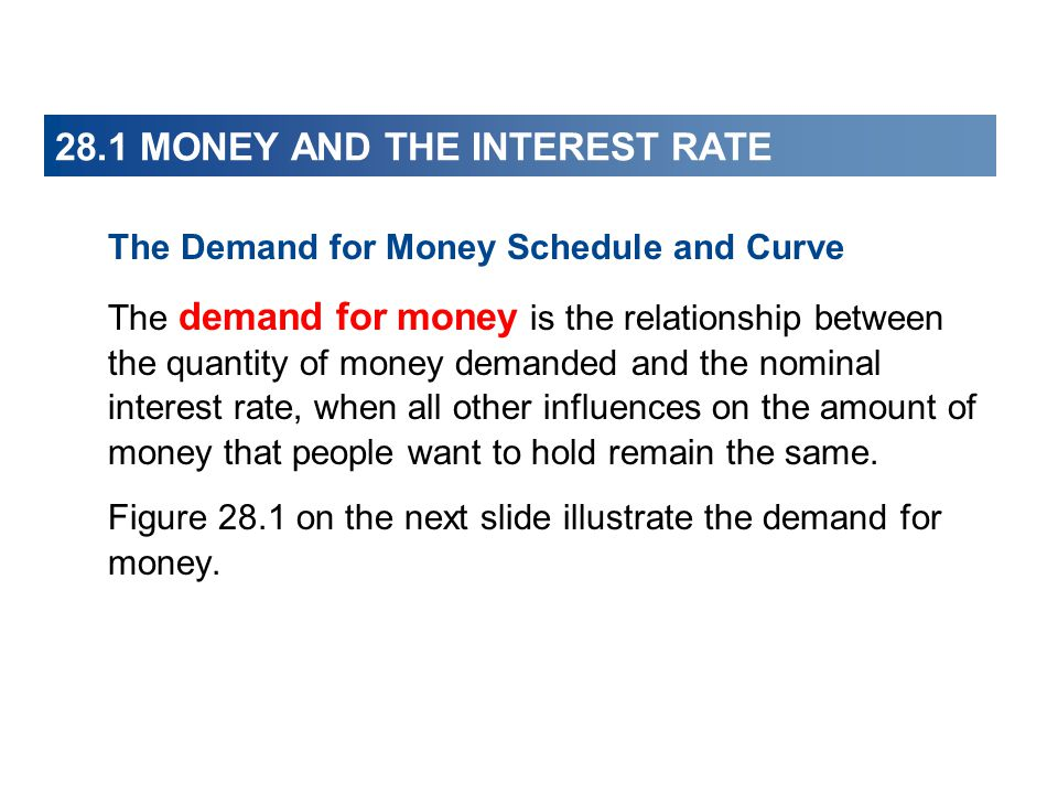 28.1 MONEY AND THE INTEREST RATE The Demand for Money Schedule and Curve The demand for money is the relationship between the quantity of money demand