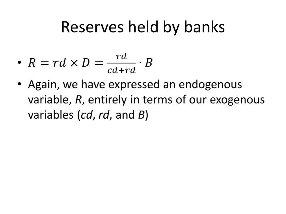 Reserves held by banks