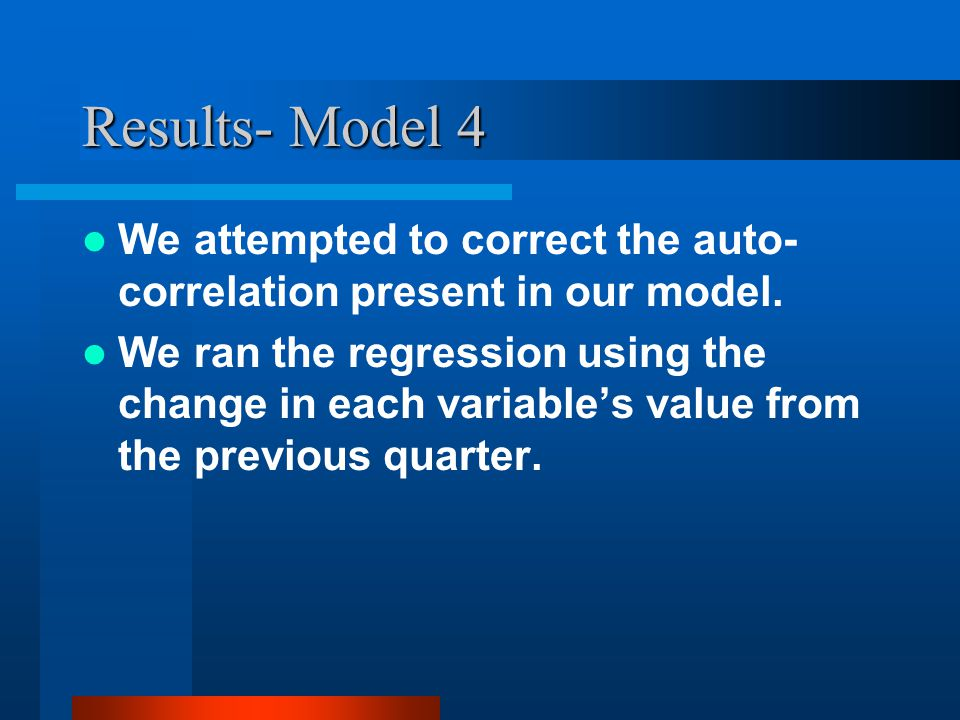 Results- Model 4 We attempted to correct the auto- correlation present in our model. We ran the regression using the change in each variables value fr