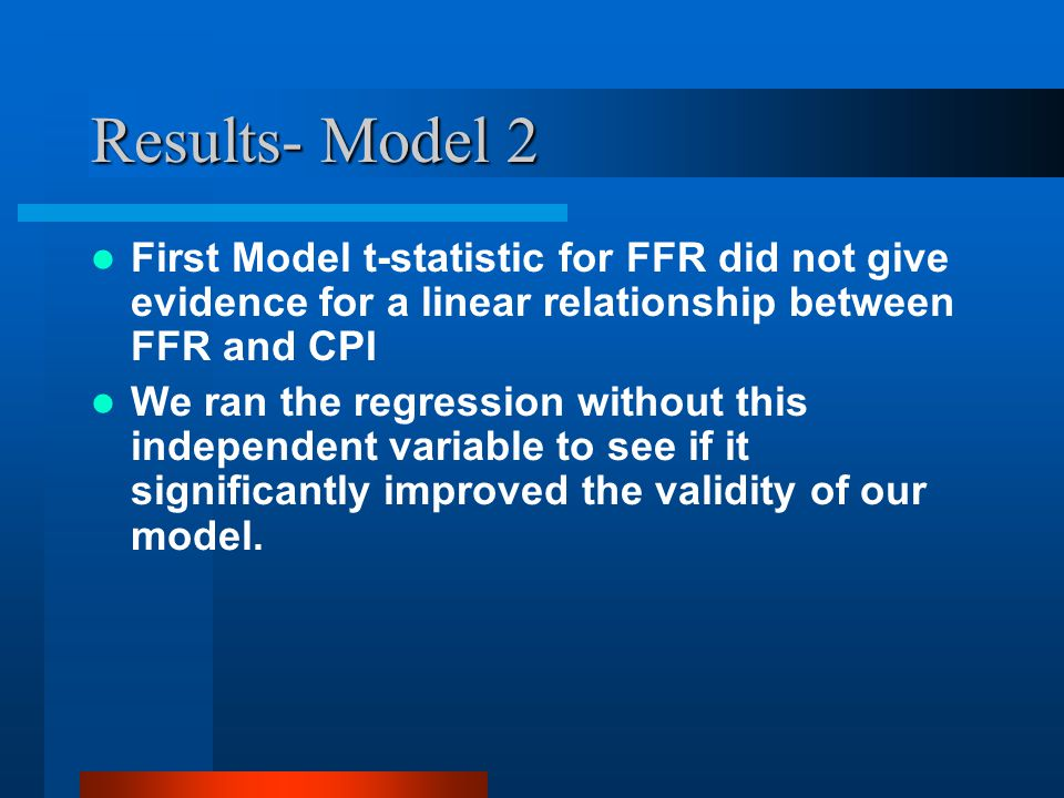 Results- Model 2 T-statistics are highly significant and R 2 value unchanged at 98% F-statistic improved to 4161.575 Durbin-Watson statistic still indicates auto- correlation