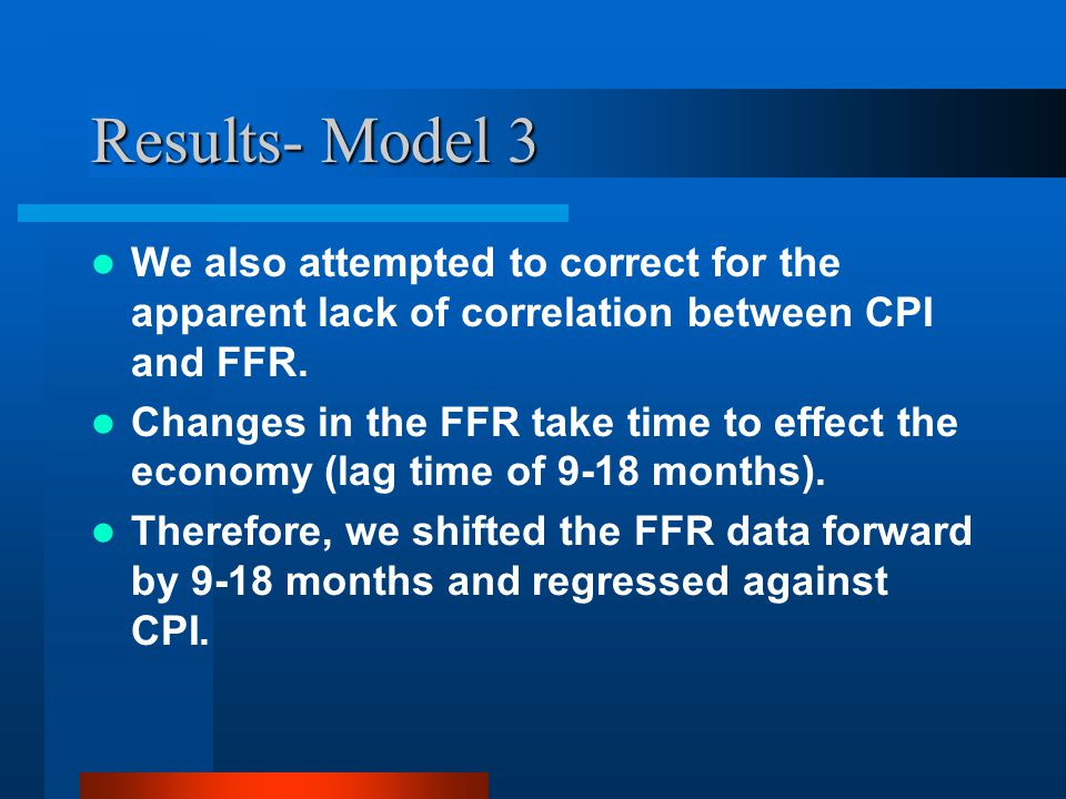 Results- Model 3 We also attempted to correct for the apparent lack of correlation between CPI and FFR. Changes in the FFR take time to effect the eco