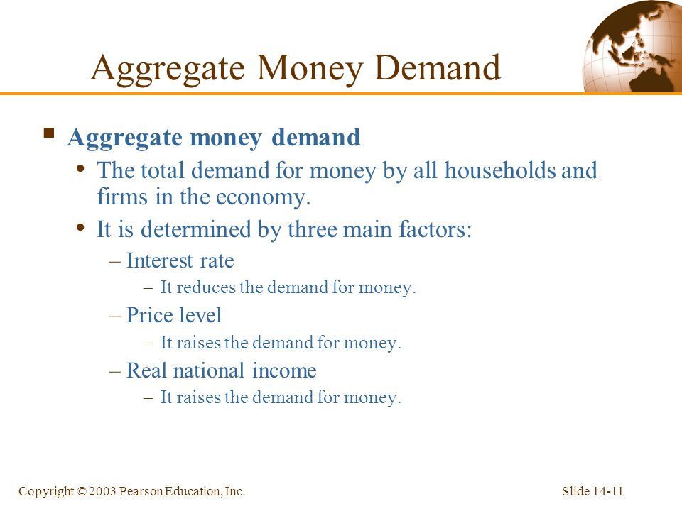 Slide 14-11Copyright © 2003 Pearson Education, Inc. Aggregate Money Demand Aggregate money demand The total demand for money by all households and fir