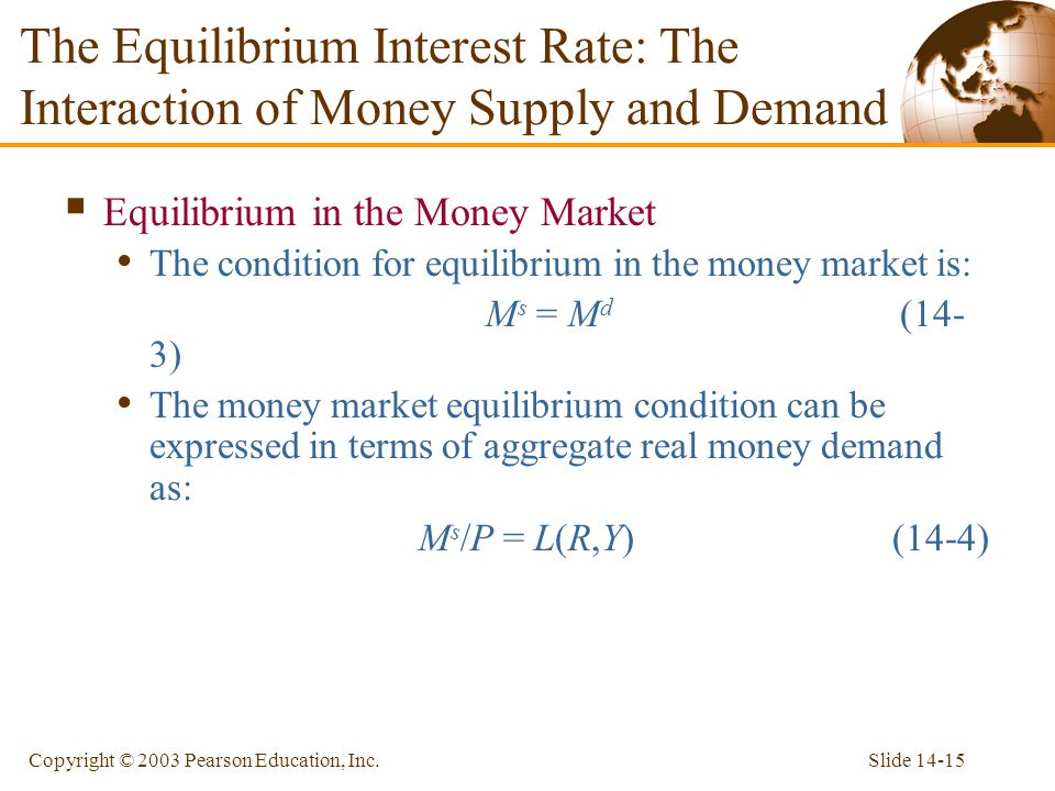 Slide 14-15Copyright © 2003 Pearson Education, Inc. Equilibrium in the Money Market The condition for equilibrium in the money market is: M s = M d (1