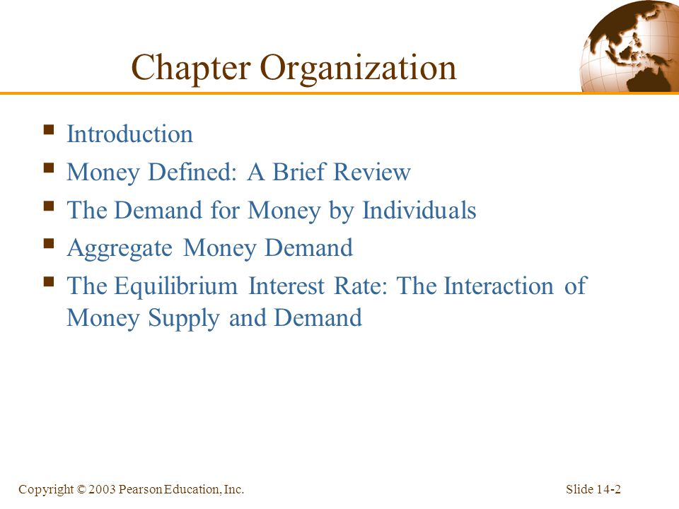 Slide 14-2Copyright © 2003 Pearson Education, Inc. Introduction Money Defined: A Brief Review The Demand for Money by Individuals Aggregate Money Dema