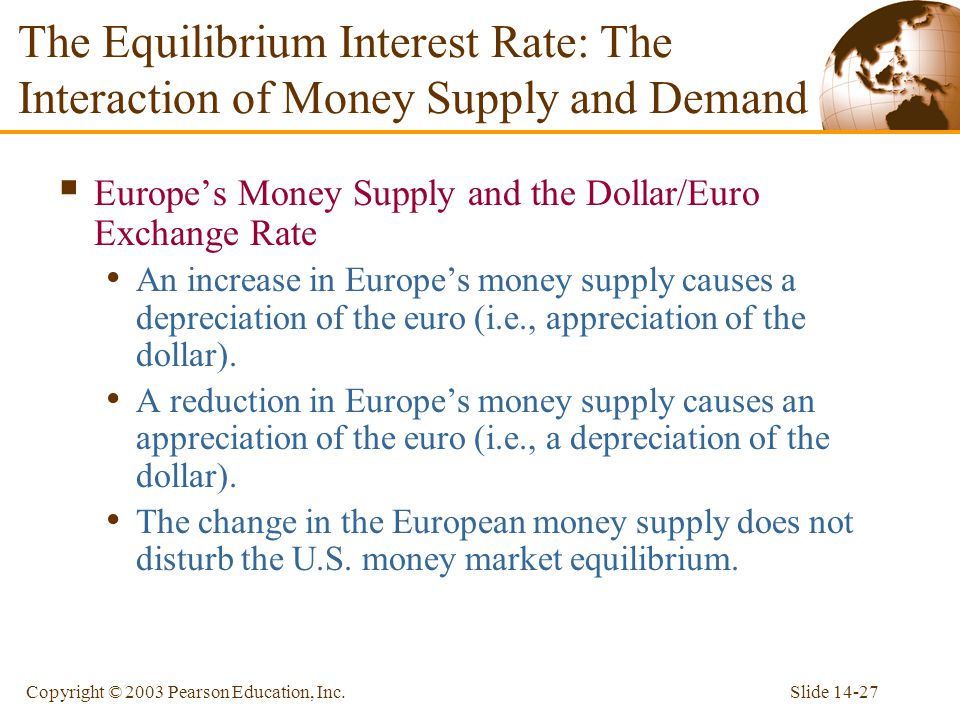Slide 14-27Copyright © 2003 Pearson Education, Inc. Europes Money Supply and the Dollar/Euro Exchange Rate An increase in Europes money supply causes