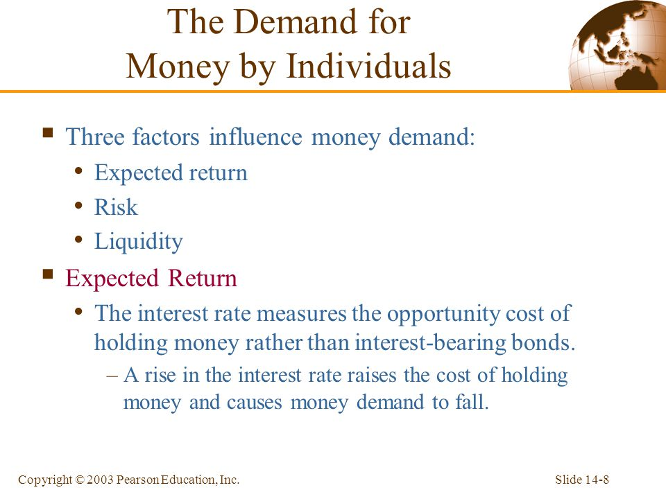 Slide 14-8Copyright © 2003 Pearson Education, Inc. Three factors influence money demand: Expected return Risk Liquidity Expected Return The interest r