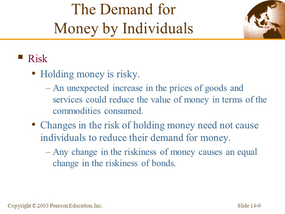 Slide 14-9Copyright © 2003 Pearson Education, Inc. Risk Holding money is risky. –An unexpected increase in the prices of goods and services could redu