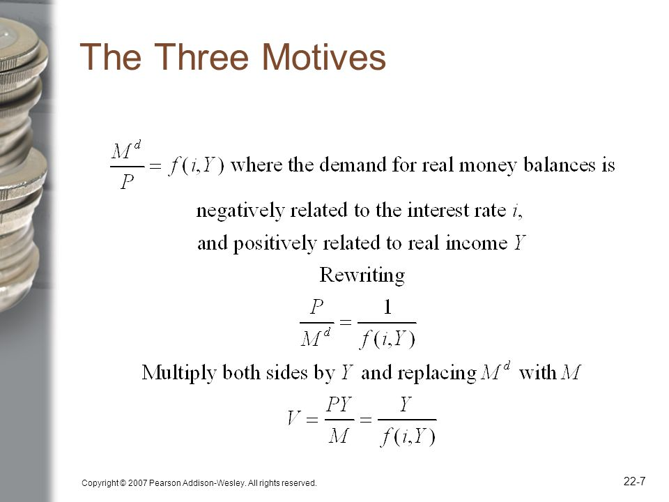 Copyright © 2007 Pearson Addison-Wesley. All rights reserved. 22-7 The Three Motives
