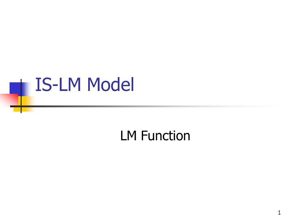 32 Deriving the LM Function Money market equilibrium Mt Ma If Ms = Ms = $1bn, Ms = Mt + Ma If Ma = 0, Mt = It Mt = 0, Ma = 45 A $1 increase in Mt implies a $1 decrease in Ma given Ms = Ms A movement along the 45 line