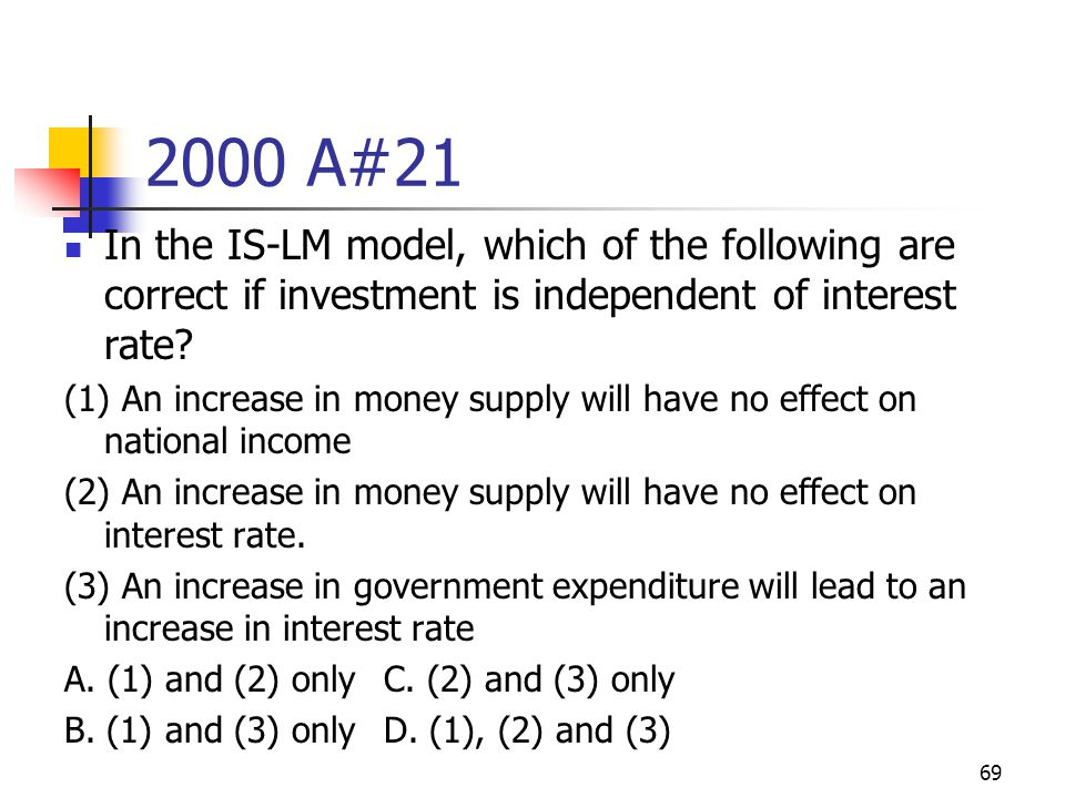 69 2000 A#21 In the IS-LM model, which of the following are correct if investment is independent of interest rate? (1) An increase in money supply wil