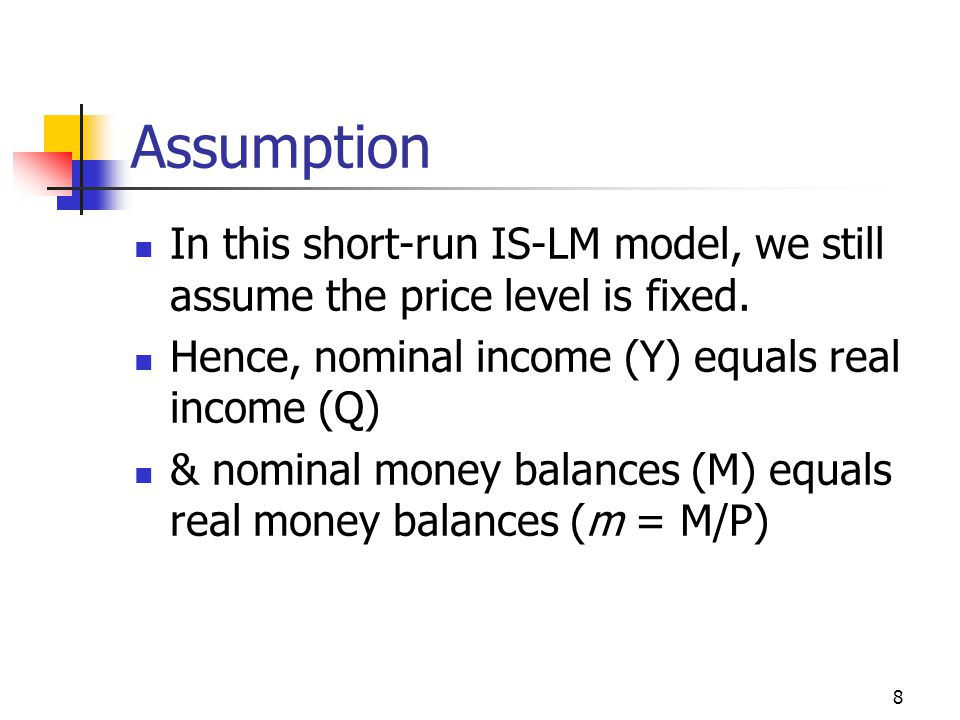 39 LM Function r will increase to reduce Ma in order to keep the money market in equilibrium since Ma = Ma - er Ms = Ms = Md = Mt + Ma This positive relationship between interest rate r and national income Y in the money market is represented by the upward sloping LM curve in slide 37