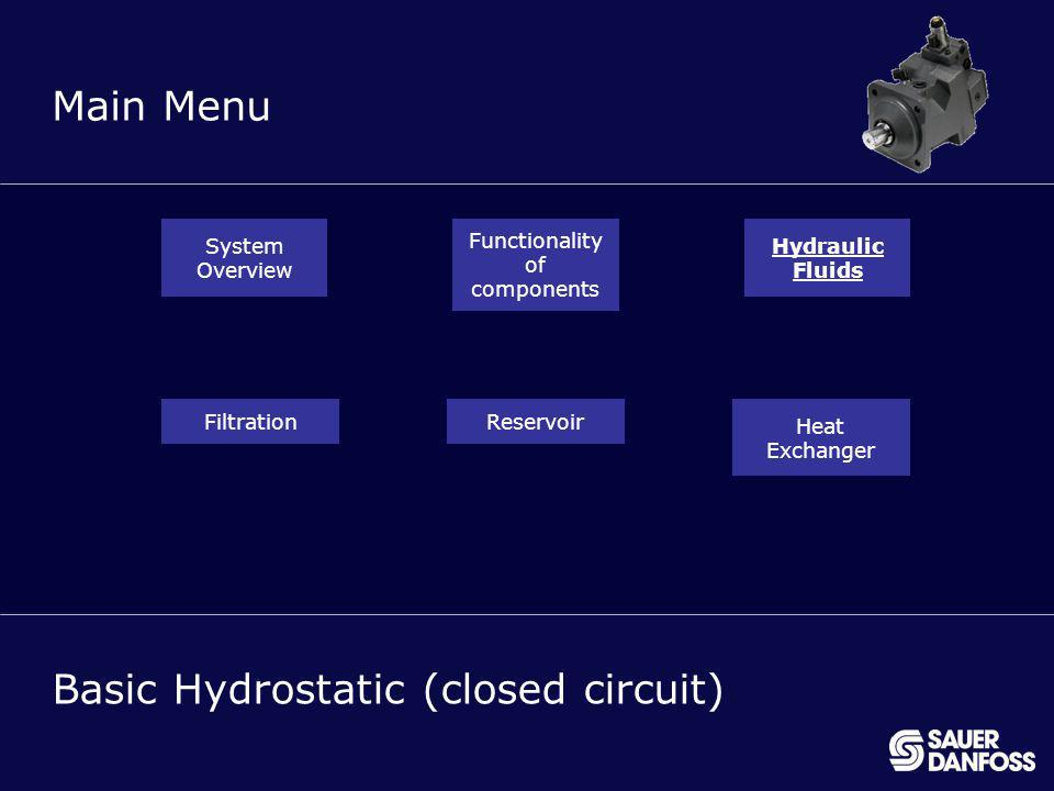 20 MENU Main Menu Basic Hydrostatic (closed circuit) System Overview Functionality of components Hydraulic Fluids FiltrationReservoir Heat Exchanger