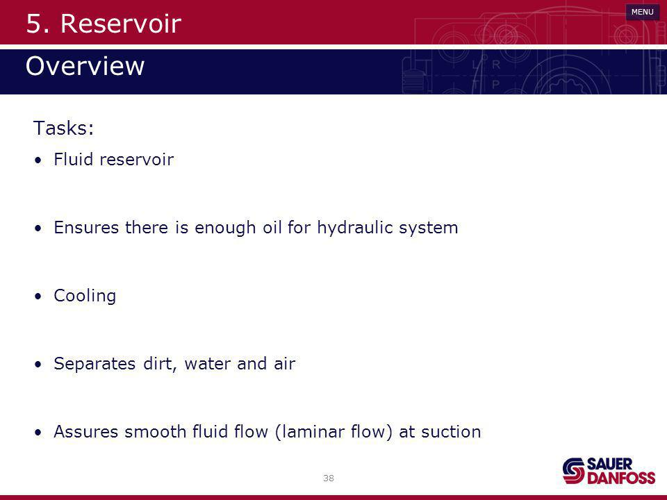 38 MENU 5. Reservoir Overview Art der Filterung Tasks: Fluid reservoir Ensures there is enough oil for hydraulic system Cooling Separates dirt, water