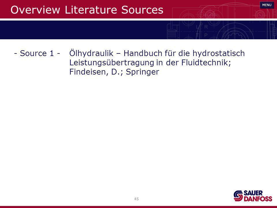 45 MENU Overview Literature Sources MENU - Source 1 -Ölhydraulik – Handbuch für die hydrostatisch Leistungsübertragung in der Fluidtechnik; Findeisen,