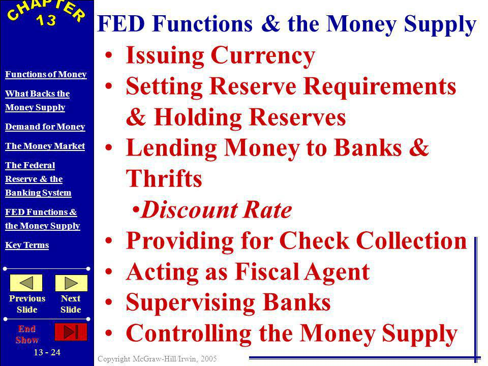 13 - 23 Copyright McGraw-Hill/Irwin, 2005 Functions of Money What Backs the Money Supply Demand for Money The Money Market The Federal Reserve & the Banking System FED Functions & the Money Supply Key Terms Previous Slide Next Slide End Show THE FEDERAL RESERVE AND THE BANKING SYSTEM Federal Open Market Committee Board of Governors 12 Federal Reserve Banks Commercial Banks Thrift Institutions (Savings & loan associations, mutual savings banks, credit unions) The Public (Households and businesses)