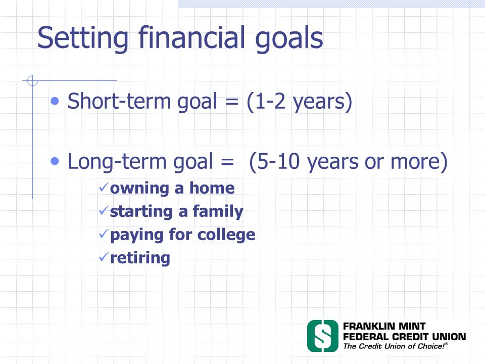 Setting financial goals Short-term goal = (1-2 years) Long-term goal = (5-10 years or more) owning a home starting a family paying for college retiring