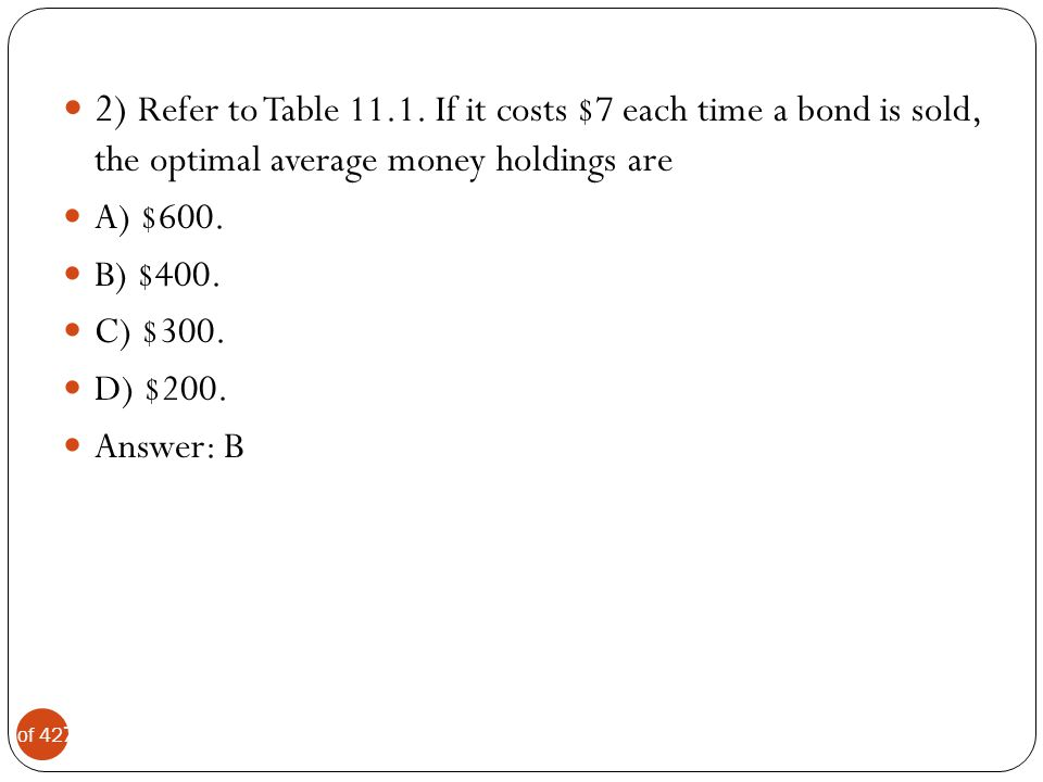 8 of 42 3) Refer to Table 11.1.