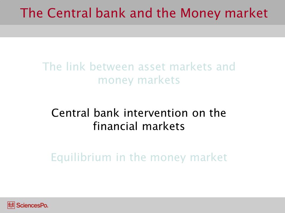 The Central bank and the Money market The link between asset markets and money markets Central bank intervention on the financial markets Equilibrium