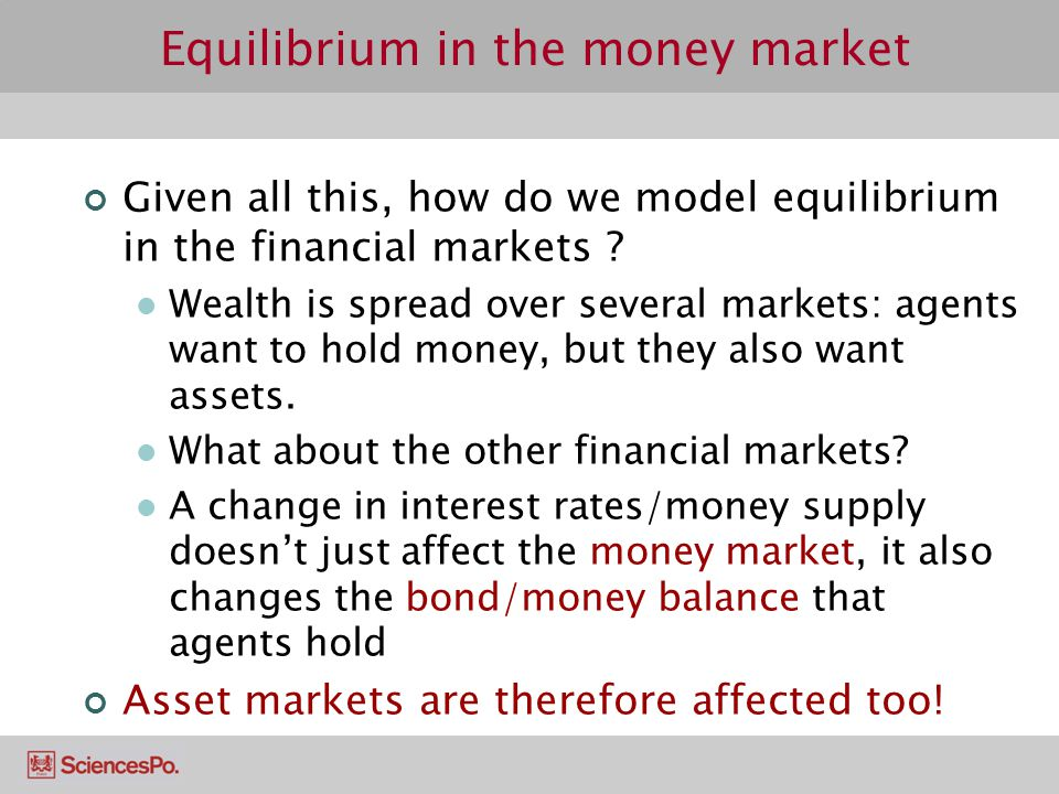 Given all this, how do we model equilibrium in the financial markets ? Wealth is spread over several markets: agents want to hold money, but they also