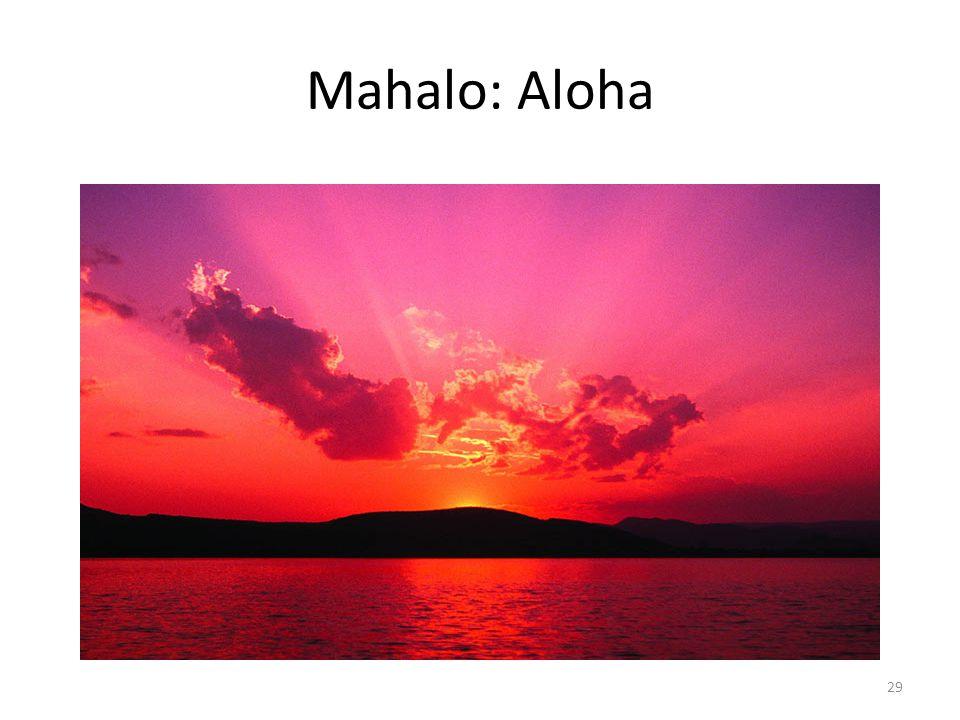 Mahalo: Aloha 29