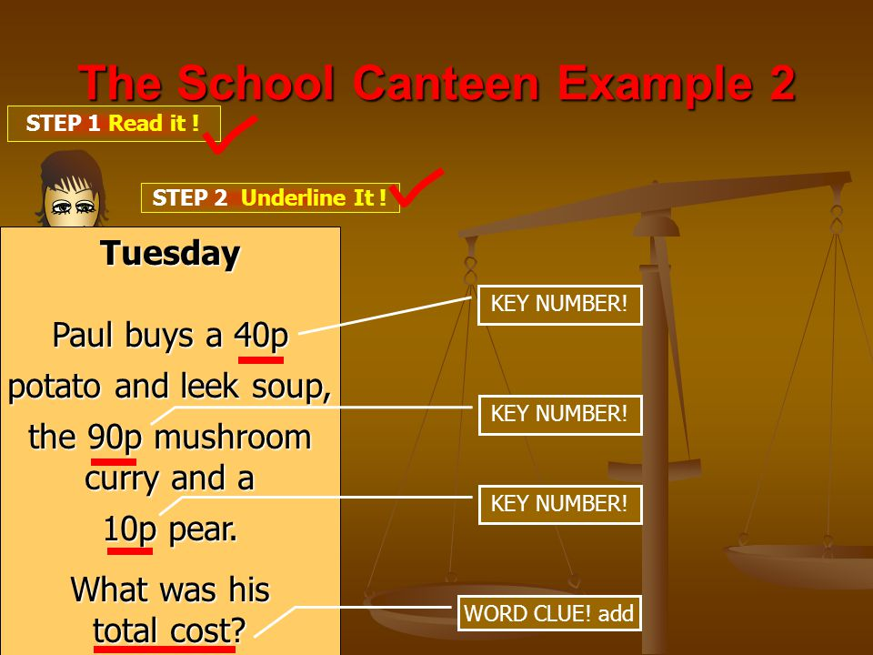 The School Canteen Example 2 STEP 1 Read it . STEP 2 Underline It .