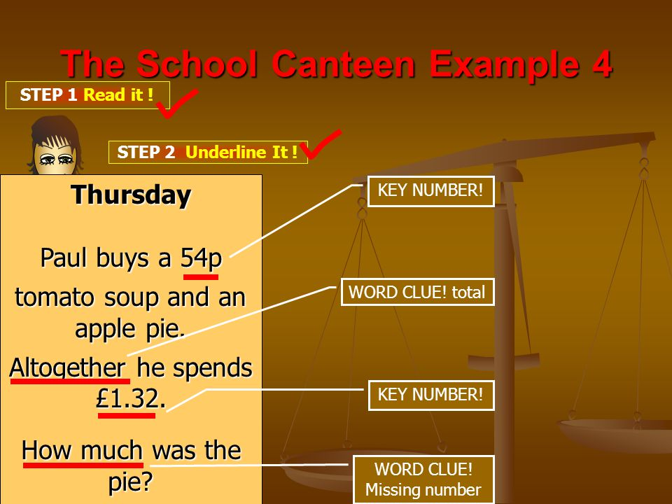 The School Canteen Example 4 STEP 1 Read it . STEP 2 Underline It .