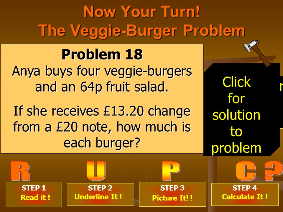 Now Your Turn. The Veggie-Burger Problem STEP 1 .