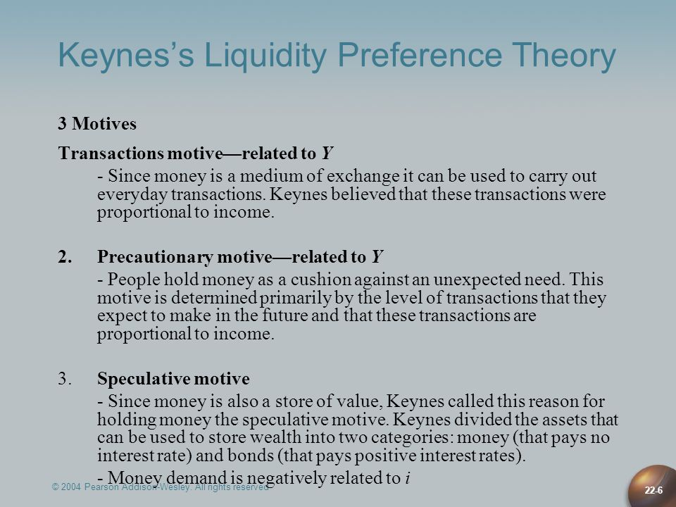 22-17 Friedmans Modern Quantity Theory Implication of 3: M d Y = f(Y P ) V = Pf(Y P ) Since relationship of Y and Y P predictable, 4 implies V is predictable: Get Q- theory view that change in M leads to predictable changes in nominal income, PY Theory of asset demand: M d function of wealth (Y P ) and relative R e of other assets M d = f(Y P, r b – r m, r e – r m, e – r m ) P+––– Differences from Keynesian Theories 1.Other assets besides money and bonds: equities and real goods 2.Real goods as alternative asset to money implies M has direct effects on spending 3.r m not constant: r b, r m, r b – r m unchanged, so M d unchanged: i.e., interest rates have little effect on M d 4.M d is a stable function