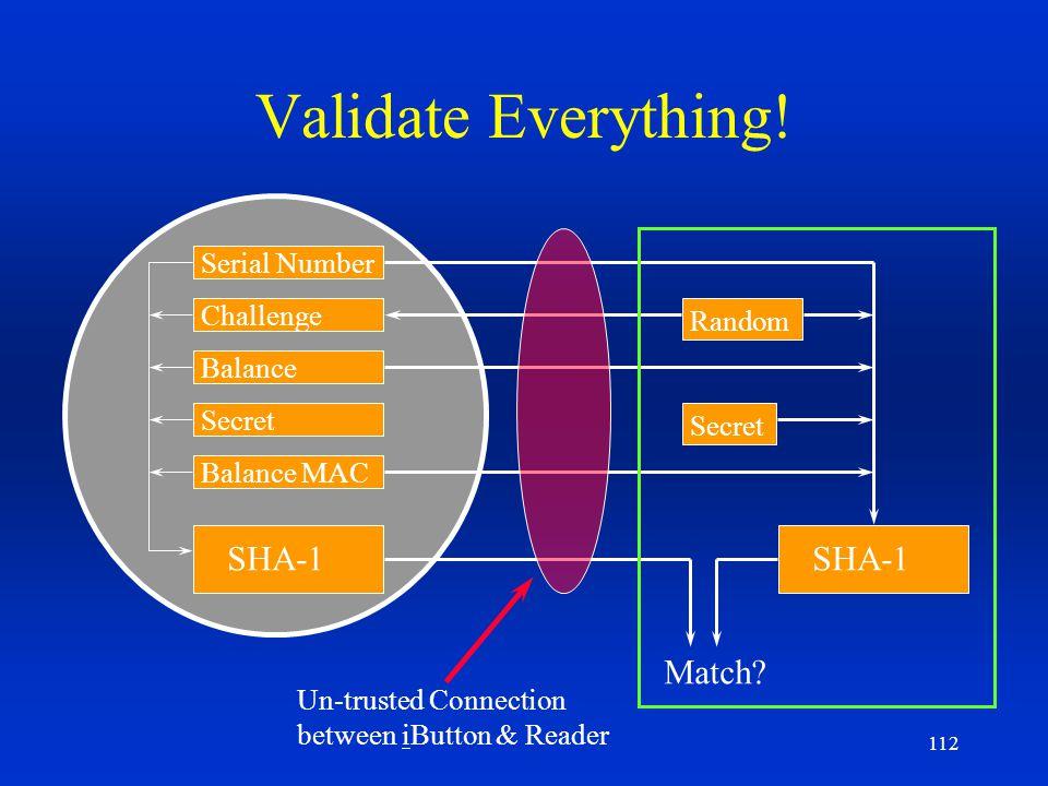 112 Validate Everything! Serial Number Secret Balance MAC Balance Challenge SHA-1 Match? Random Un-trusted Connection between iButton & Reader Secret