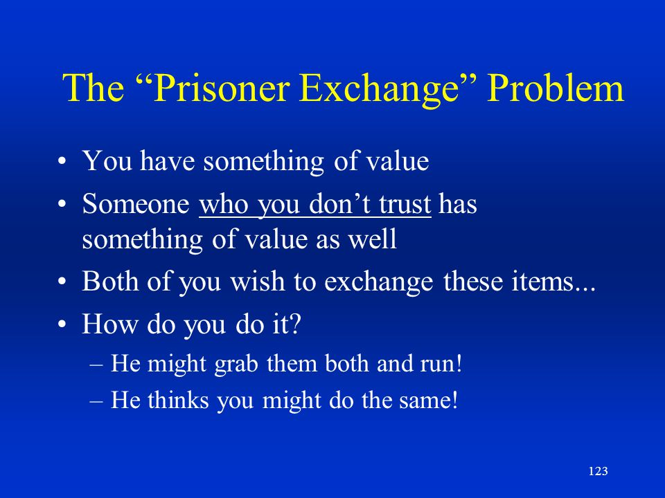 123 The Prisoner Exchange Problem You have something of value Someone who you dont trust has something of value as well Both of you wish to exchange t