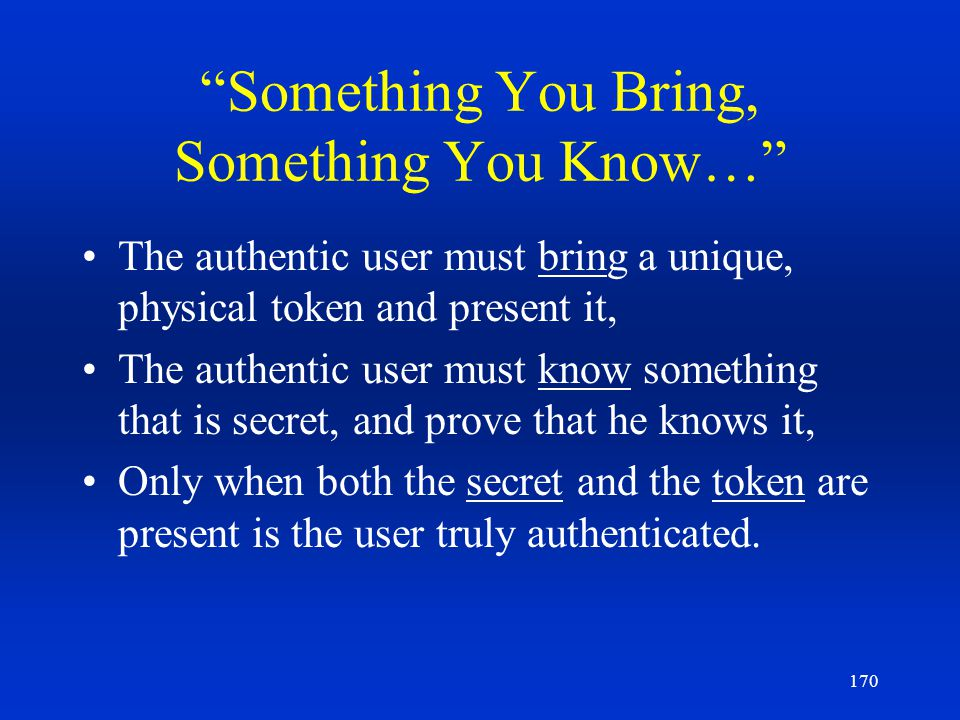 170 Something You Bring, Something You Know… The authentic user must bring a unique, physical token and present it, The authentic user must know somet