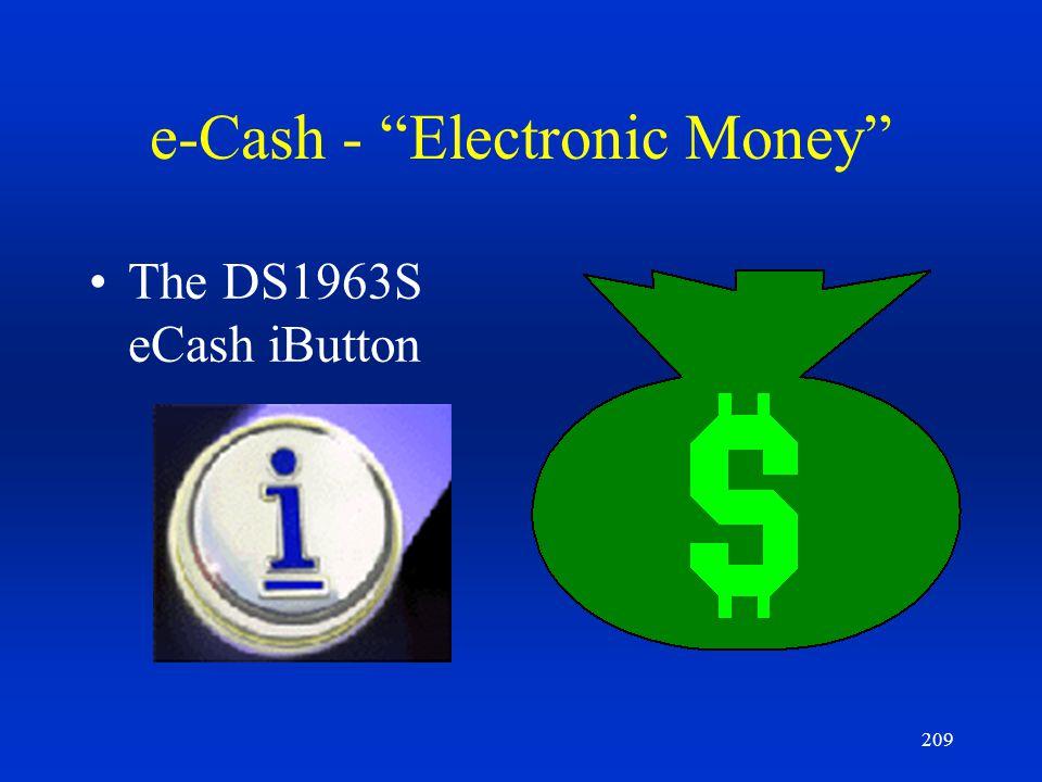 209 e-Cash - Electronic Money The DS1963S eCash iButton