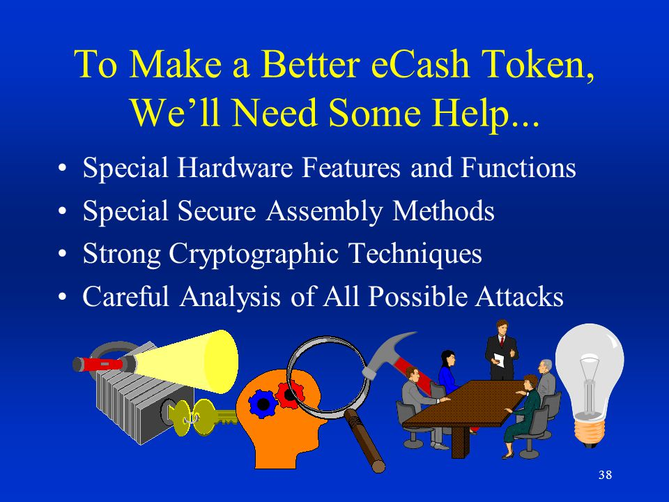 38 To Make a Better eCash Token, Well Need Some Help... Special Hardware Features and Functions Special Secure Assembly Methods Strong Cryptographic T