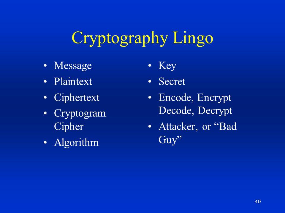 40 Cryptography Lingo Message Plaintext Ciphertext Cryptogram Cipher Algorithm Key Secret Encode, Encrypt Decode, Decrypt Attacker, or Bad Guy