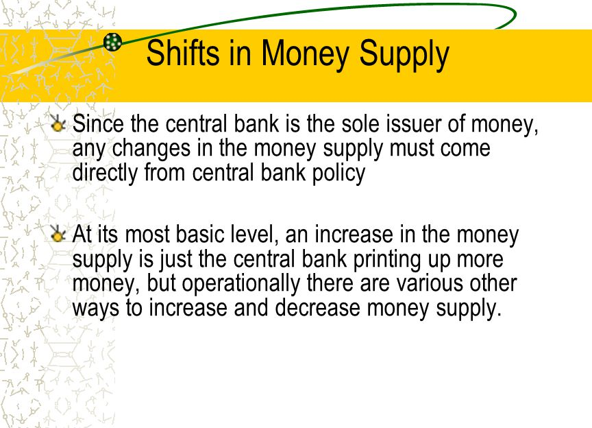 Shifts in Money Supply Since the central bank is the sole issuer of money, any changes in the money supply must come directly from central bank policy